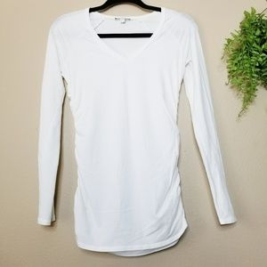 James Perse | White V-Neck Ruched Raglan Tee